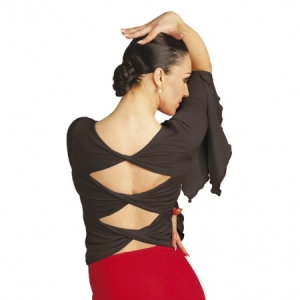 Capezio_Long_Ruffle_Sleeve_Top_Back_Black