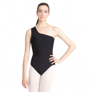 Capezio_One_Shoulder_Leotard_Front_Black
