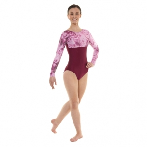 Tappers_Long_Sleeve_Velour_Leotard_Burgundy