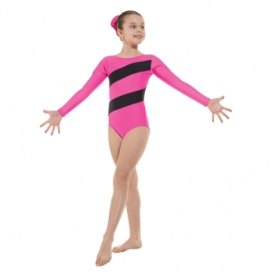 Tappers_Two_Stripe_Gymnastics_Leotard_Lipstick