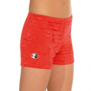 The_Zone_Childs_Velour_Gymnastic_Shorts_Red